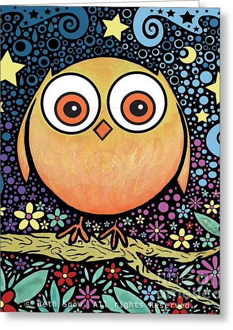 Psychedelic Owl Greeting Cards - Psychedelic Owl Greeting Card by Beth Snow