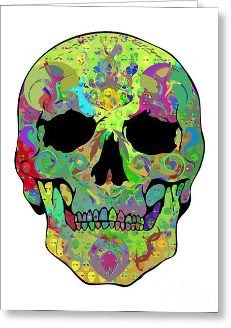 Scull Greeting Cards Greeting Cards - Psychedelic Skull Greeting Card by Mauro Celotti