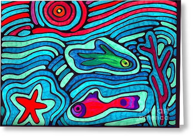 Sarah Loft Drawings Greeting Cards - Psychedelic Sea Greeting Card by Sarah Loft