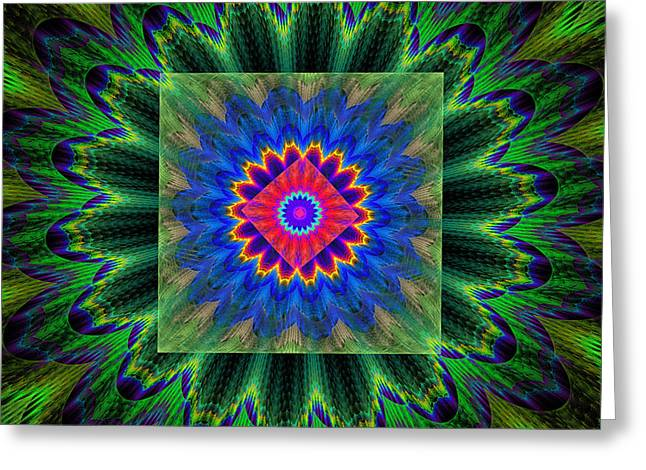 Energy Vortex Greeting Cards - Psychedelic Square Vortex Purple Green Blue And Red Fractal Flame Greeting Card by Keith Webber Jr