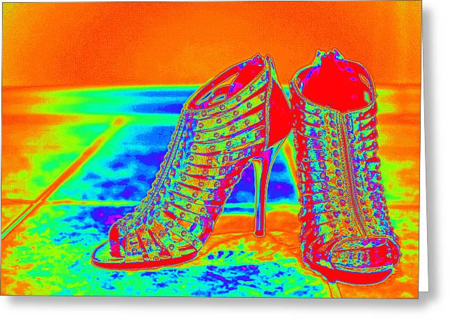 Open Toe Shoes Greeting Cards - Psychedelic Stilettos Greeting Card by Charles Benavidez