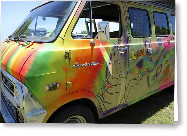 Psychedelic Photographs Greeting Cards - Psychedelic Van Summer of Love Greeting Card by Ann Powell