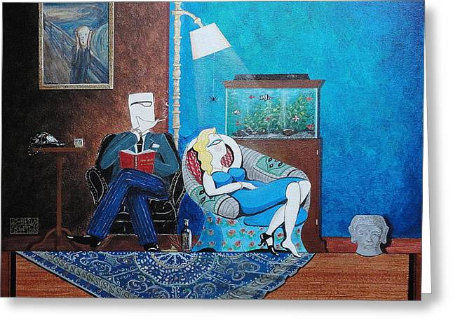 John Lyes Greeting Cards - Psychiatrist Sitting in Chair Studying Spiders Reaction Greeting Card by John Lyes