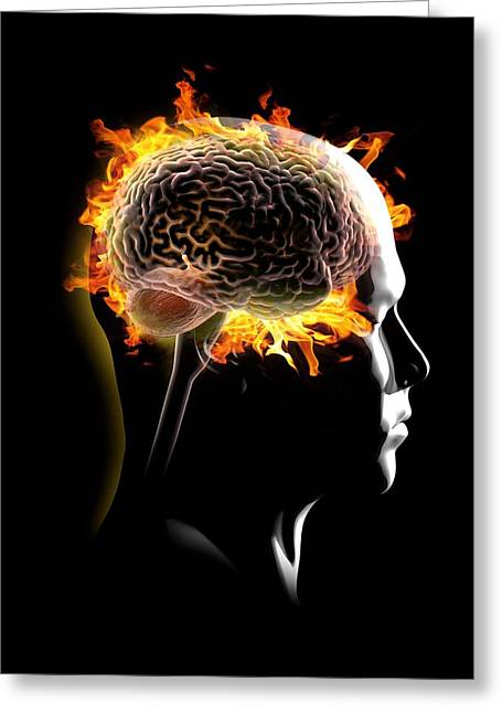 Shoulder-fired Greeting Cards - Psychic brain, conceptual image Greeting Card by Science Photo Library