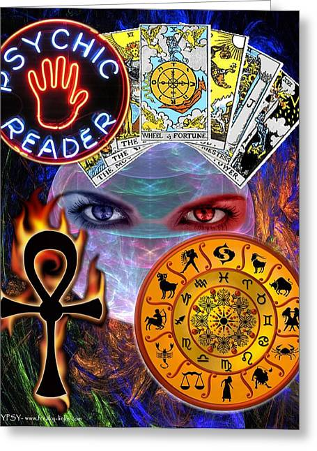 Gypsy Greeting Cards - Psychic Reader Greeting Card by The GYPSY And DEBBIE