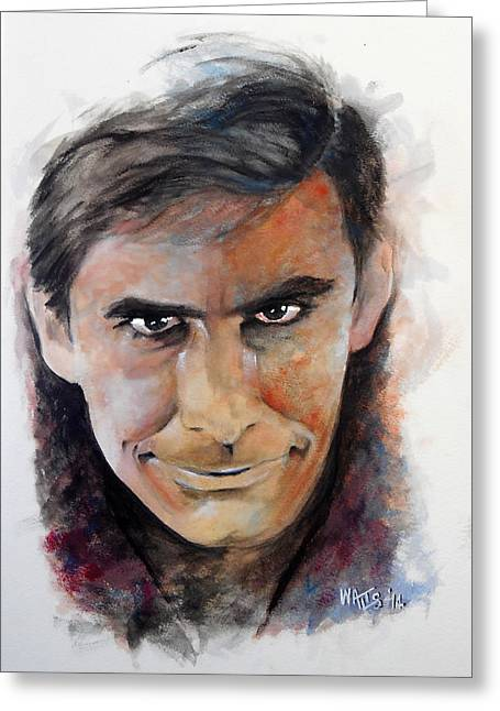 Psycho - Anthony Perkins Greeting Card by William Walts