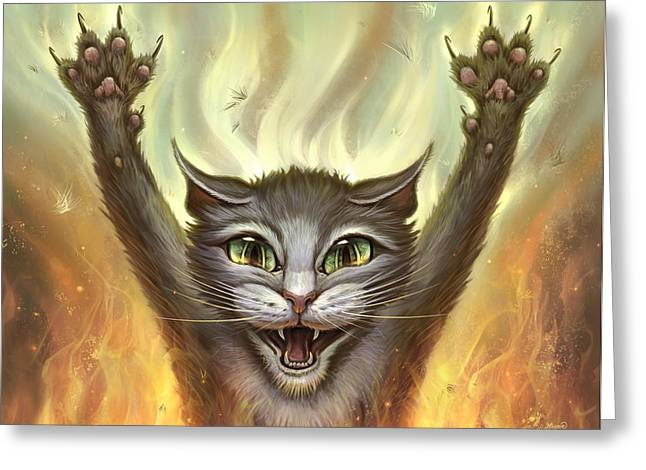 Wall Hangings Greeting Cards - Psycho Cat Greeting Card by Jeff Haynie