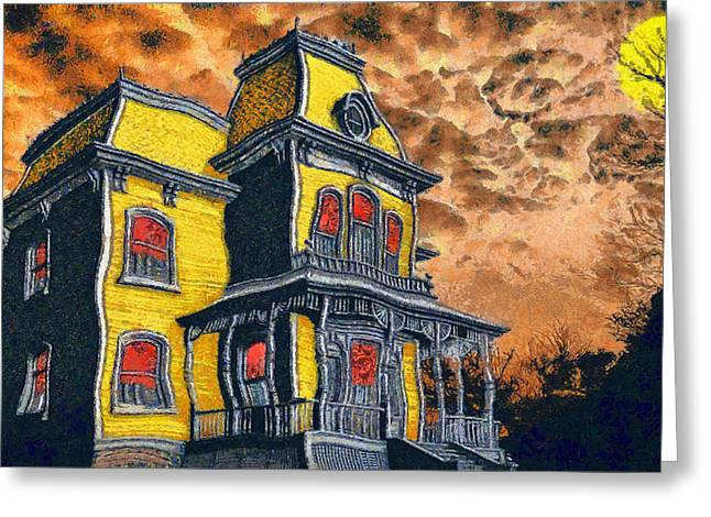 Bates Motel Greeting Cards - Psycho Greeting Card by George Rossidis