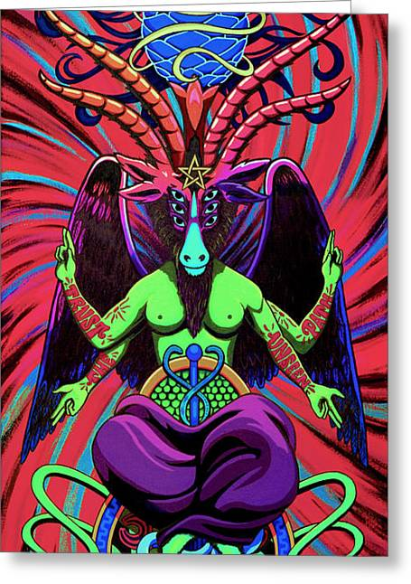 Steve Hartwell Greeting Cards - Psychtanic Baphodelic Super Goat on DMT Greeting Card by Steve Hartwell