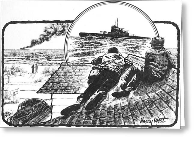 War Drawing Greeting Cards - PT Boats off NC Coast in WWII Greeting Card by Harry West