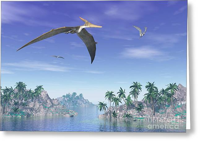 Island .oasis Greeting Cards - Pteranodon Birds Flying Above Islands Greeting Card by Elena Duvernay
