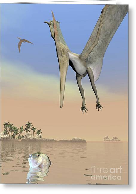 Reflections Of Sky In Water Greeting Cards - Pteranodon Fishing For Food Greeting Card by Elena Duvernay