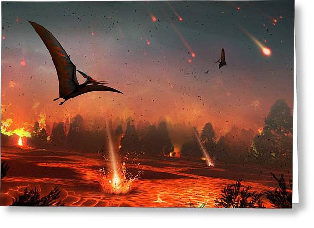 Pterosaurs And Mass Extinction Greeting Card by Mark Garlick