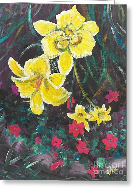 Judy Via-wolff Greeting Cards - Ptg. Day Lillies and Impatients Greeting Card by Judy Via-Wolff
