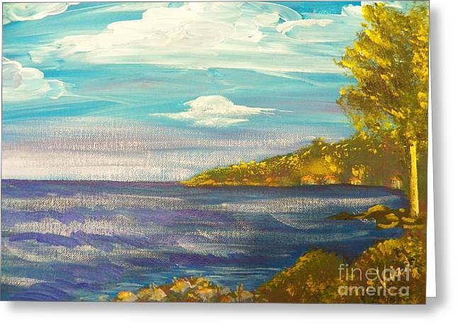 Dusk By The Lake Greeting Cards - Ptg   Highview Point  NY Greeting Card by Judy Via-Wolff