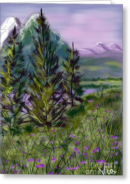 Judy Via-wolff Greeting Cards - ptg.  Mountain Meadow Pond Greeting Card by Judy Via-Wolff
