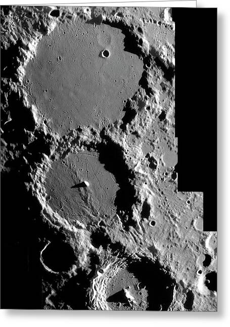 Ptolemaeus Trio Of Lunar Craters Greeting Card by Damian Peach