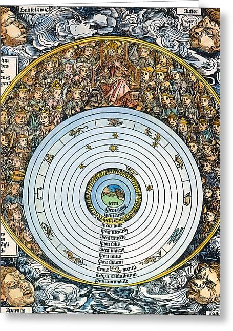 1493 Greeting Cards - Ptolemaic Universe, 1493 Greeting Card by Granger