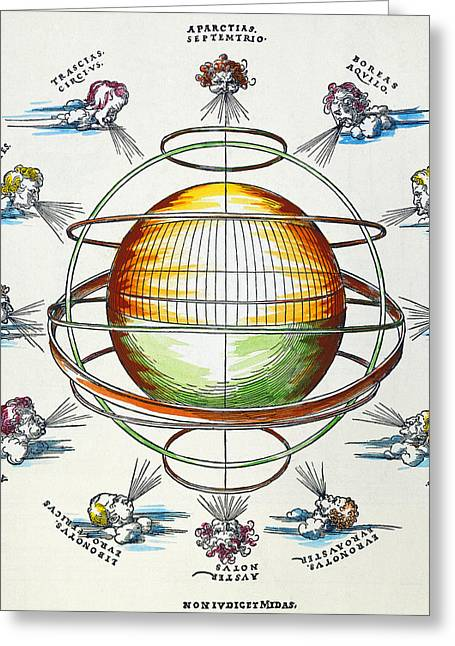 Renaissance Center Greeting Cards - Ptolemaic Universe, 1525 Greeting Card by Granger