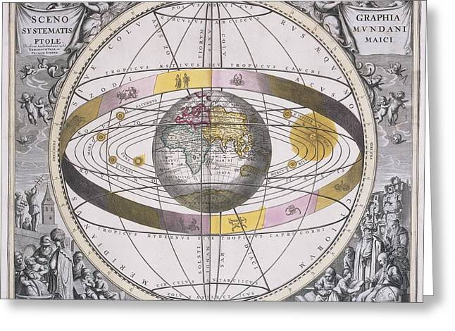 Macrocosmica Greeting Cards - Ptolemaic worldview, 1708 Greeting Card by Science Photo Library