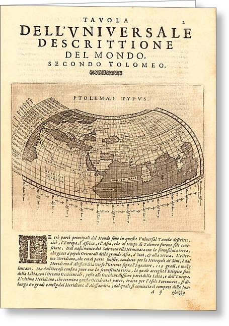 Claudius Greeting Cards - Ptolemy Typus World Map 1621 Greeting Card by Karon Melillo DeVega