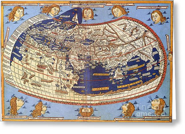 Claudius Greeting Cards - Ptolemys World Map 2nd Century Greeting Card by Photo Researchers