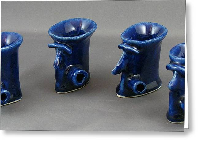 Glass Ceramics Greeting Cards - Pub Folk #4 Greeting Card by Mario Perron