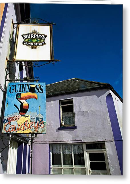 Sign Writing Greeting Cards - Pub Signs, Eyeries Village, Beara Greeting Card by Panoramic Images