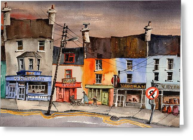Tour Ireland Greeting Cards - Pub Street Ennistymon  Clare Greeting Card by Val Byrne