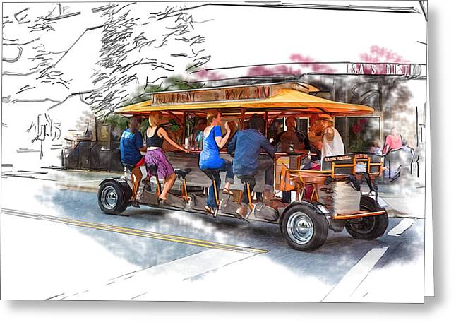 Asheville Mixed Media Greeting Cards - Pubcycle Greeting Card by John Haldane