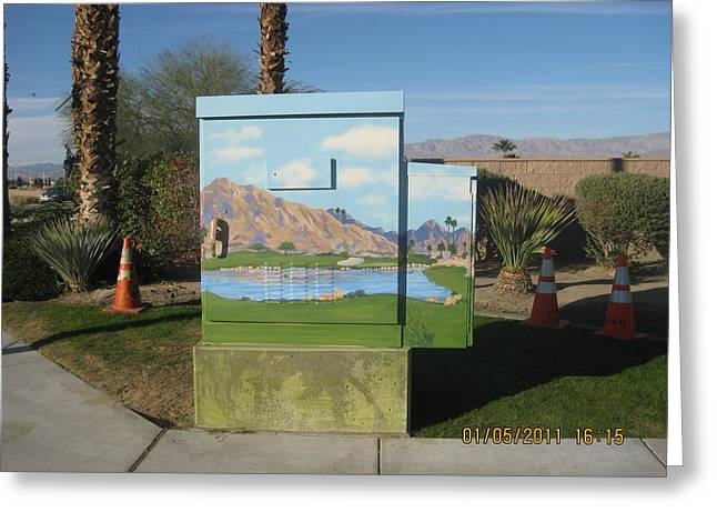 Public Art Greeting Cards - Public Art  17th Green at Silver Rock in La Quinta Greeting Card by Maria Hunt