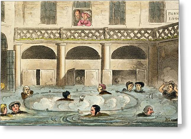 Steam Bath Greeting Cards - Public Bathing At Bath, Or Stewing Greeting Card by Isaac Robert Cruikshank