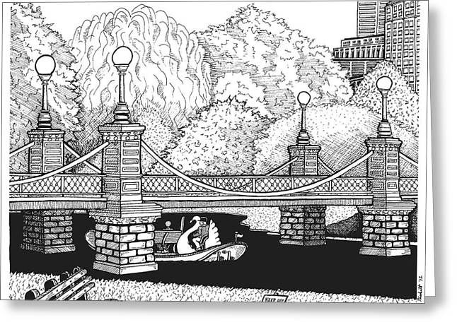 Garden Scene Drawings Greeting Cards - Public Garden Swan Boats Greeting Card by Conor Plunkett