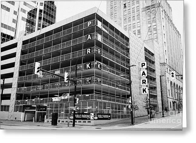 North Vancouver Greeting Cards - public multi level car park parkade in downtown Vancouver BC Canada Greeting Card by Joe Fox
