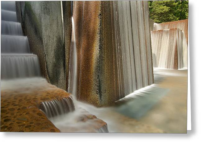 Long Exposure Waterflow Greeting Cards - Public Park Water Fountain with Stair Steps Greeting Card by JPLDesigns