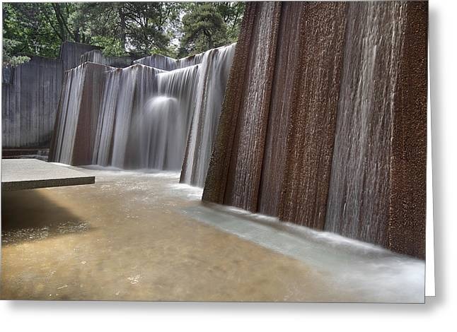Long Exposure Waterflow Greeting Cards - Public Parks Water Fountain Greeting Card by JPLDesigns