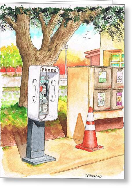 Architecrure Greeting Cards - Public phone in the Rest Area near Camp Roberts - California Greeting Card by Carlos G Groppa