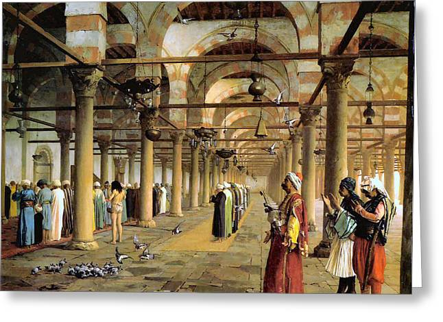 Gerome Greeting Cards - Public Prayer in the Mosque  Greeting Card by Jean Leon Gerome