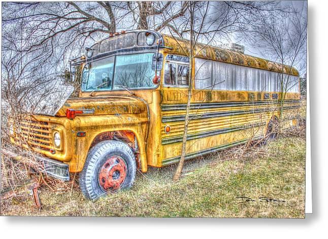 Rural School Bus Greeting Cards - Public School Transportation Greeting Card by Dan Stone