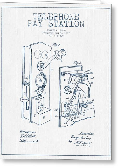 Telephone Greeting Cards - Public Telephone Patent Drawing From 1907  - Blue Ink Greeting Card by Aged Pixel
