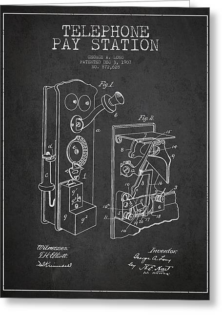Telephone Greeting Cards - Public Telephone Patent Drawing From 1907 - Dark Greeting Card by Aged Pixel