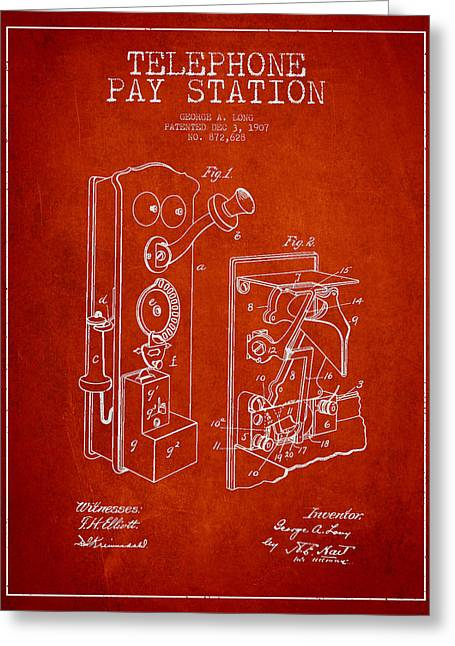 Telephone Greeting Cards - Public Telephone Patent Drawing From 1907 - Red Greeting Card by Aged Pixel