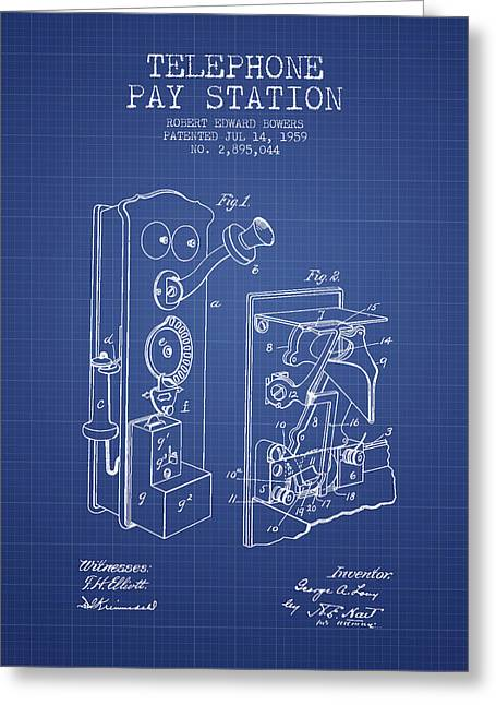 Telephone Greeting Cards - Public Telephone Patent From 1907 - Blueprint Greeting Card by Aged Pixel
