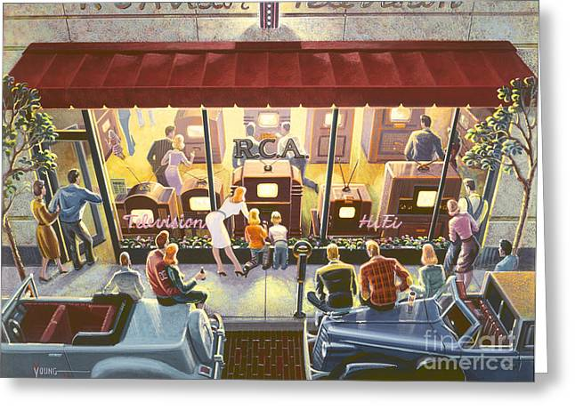 Street Scene Digital Art Greeting Cards - Public Television Greeting Card by Michael Young