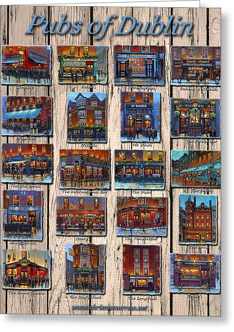 William Street Greeting Cards - Pubs of Dublin Ireland Greeting Card by Chris Mc Morrow