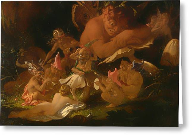 Puck Paintings Greeting Cards - Puck and Fairies from a Midsummer Nights Dream Greeting Card by Joseph Paton