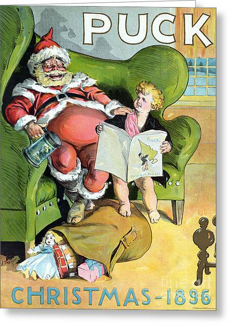 Tankards Greeting Cards - Puck Christmas 1896 Greeting Card by Photo Researchers