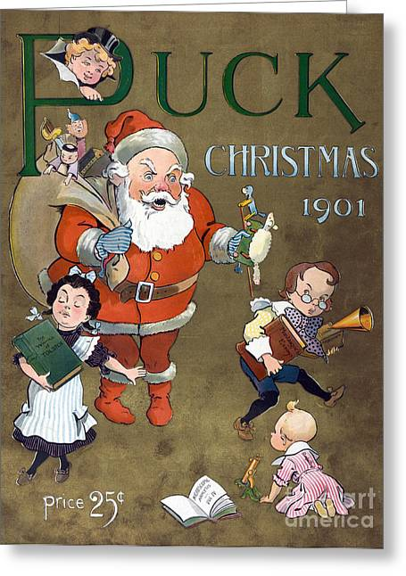 1901 Greeting Cards - Puck Christmas 1901 Greeting Card by Photo Researchers