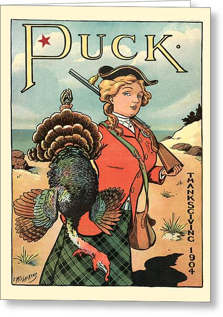 Antique Digital Greeting Cards - Puck Magazine Cover Greeting Card by Gary Grayson