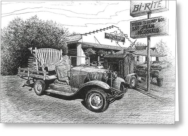 Pen And Ink Drawings For Sale Drawings Greeting Cards - Pucketts Grocery and Restuarant Greeting Card by Janet King